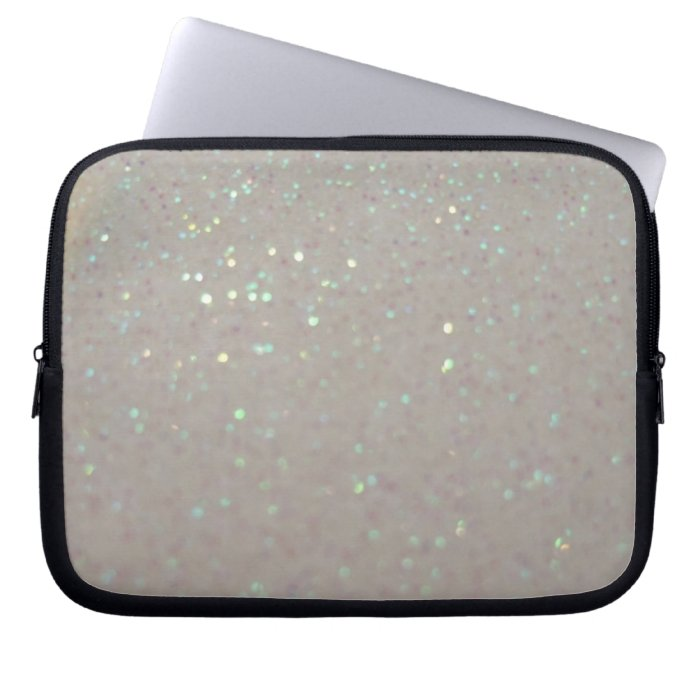 Faux Sparkles & Glitter - cream girly laptop case Computer Sleeves