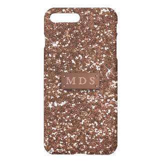 Faux Sparkly Rose Gold Glitter 3D Monogram iPhone 7 Plus Case
