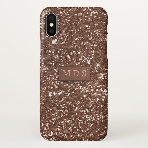 Faux Sparkly Rose Gold Glitter 3D Monogram Phone Case
