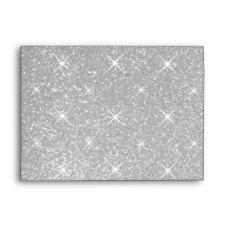 Faux sparkly silver glitter wedding envelopes