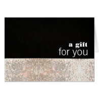 Faux Sparkly Silver Sequins Black Gift Card