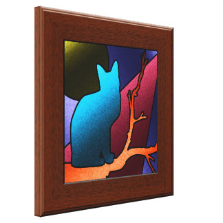 Faux Stained Glass Cat Window Canvas Wall Art Gallery Wrapped Canvas