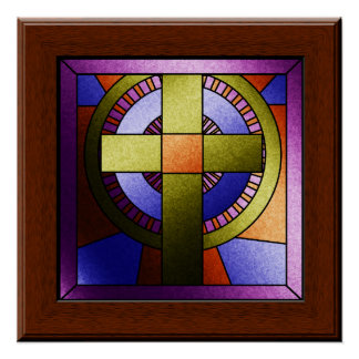 Faux Stained Glass Church Window Easter Cross Poster