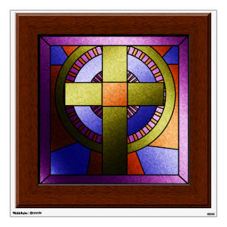 Faux Stained Glass  Church Window Easter Cross Wall Decal