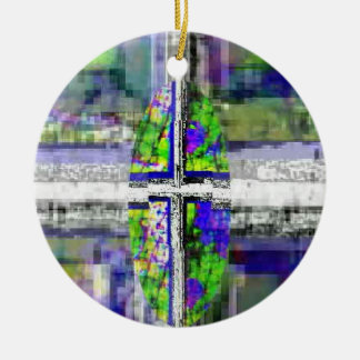 Faux Stained Glass Cross Ceramic Ornament