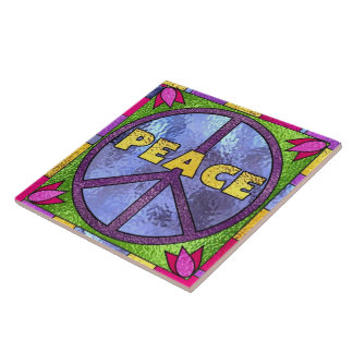Faux stained glass peace sign tile