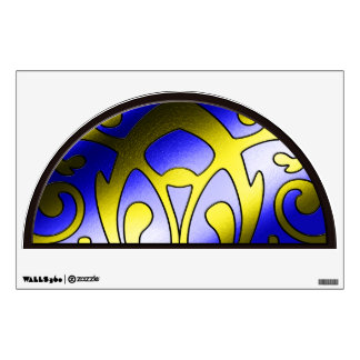 Faux Stained Glass Window Blue Yellow Mural Wall Decal