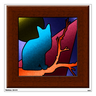 Faux Stained Glass Window  Cat Wall Mural Decal