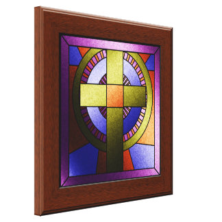 Faux Stained Glass Window Easter Canvas Wall Art