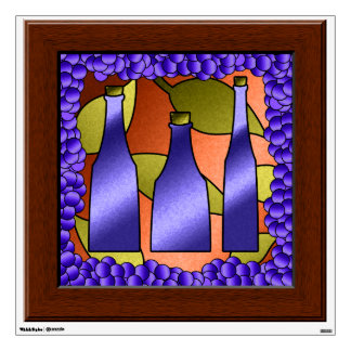 Faux Stained Glass Window Grapes Wine Wall Mural Wall Decor