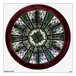 Faux Stained Glass Window Round Wall Decal