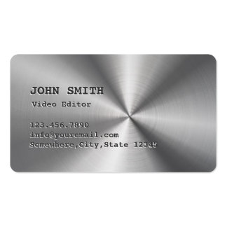 Faux Stainless Steel Video Editor Business Card