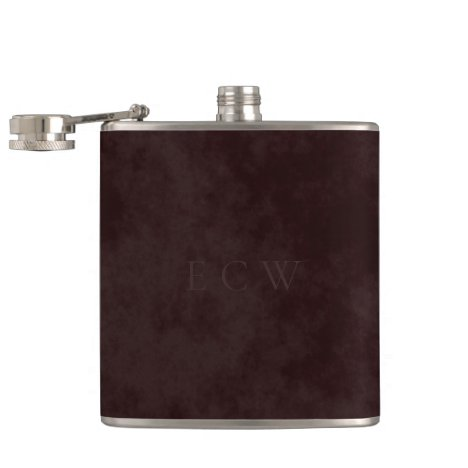 Faux Stamped Triple Monogram on Earthy Brown Flask