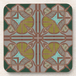 Faux-stich colored tiles with forest green backgro drink coaster
