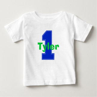 Faux Stitch First Birthday Shirt Blue