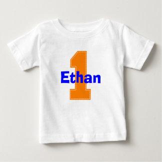 Faux Stitch Orange First Birthday Shirt