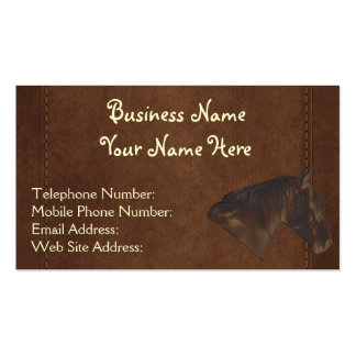 Faux Stitched Leather & Horse Wrangler style XI Double-Sided Standard Business Cards (Pack Of 100)