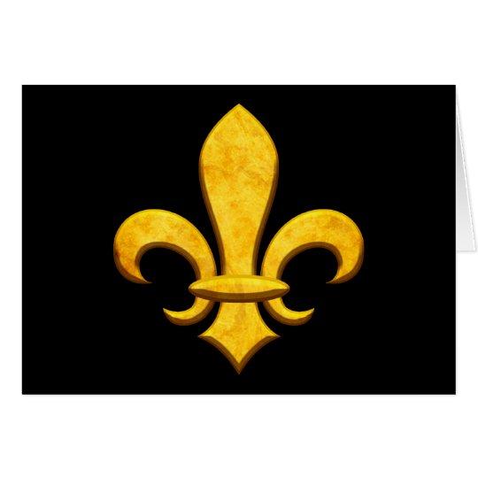 Faux Stone Gold Fleur de lis Card