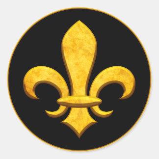 Faux Stone Gold Fleur de lis Classic Round Sticker
