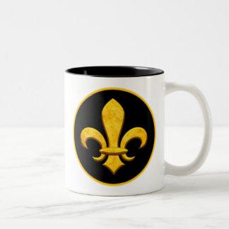 Faux Stone Gold Fleur de lis Two-Tone Coffee Mug