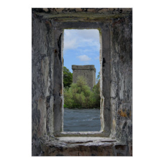 Faux Stone Window framing a Scottish Castle Poster