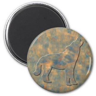 Faux Stone Wolf Art 2 Inch Round Magnet