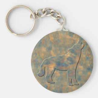 Faux Stone Wolf Art Keychain