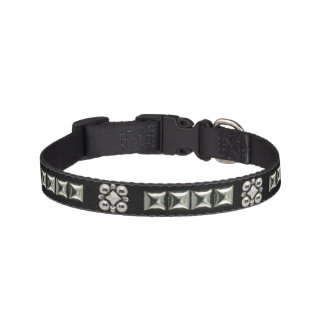 Faux Studded Black Leather Collar Pet Collars