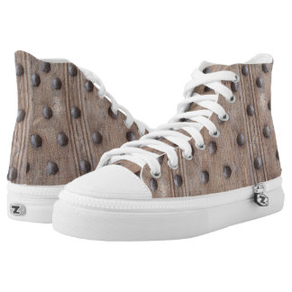 Faux Studded Wooden Medieval Castle Door High-Top Sneakers