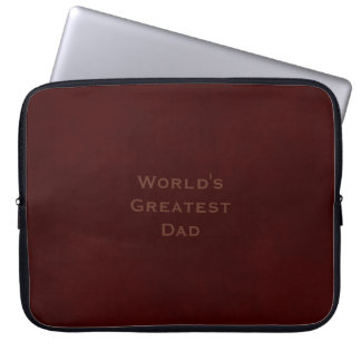 Faux Suede World's Greatest Dad on Mottled Brown Computer Sleeve