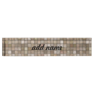 Faux Tan Floor Tile Image Nameplate