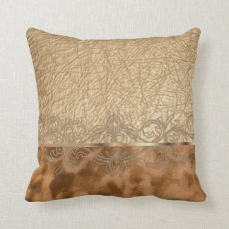 Faux Tan Leather & Suede Texture Design Throw Pillow