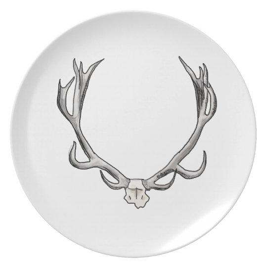 Faux Taxidermy Antler Study VOL 1 Melamine Plate