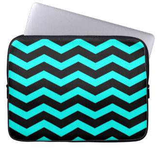 Faux Teal Blue Black Foil Chevron Zig Zag Laptop Sleeve