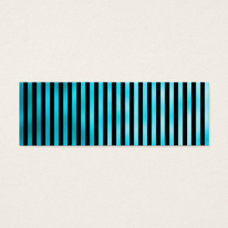 Faux Teal Blue Black Vertical Aqua Narrow Stripes Mini Business Card