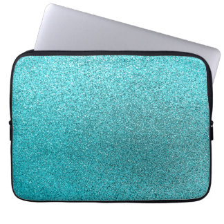 Faux Teal Blue Glitter Background Sparkle Texture Computer Sleeve