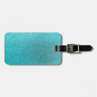 Faux Teal Blue Glitter Background Sparkle Texture Luggage Tag