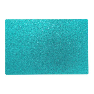 Faux Teal Blue Glitter Background Sparkle Texture Placemat