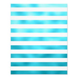 Faux Teal Blue White Horizontal Aqua Stripes Photo Print