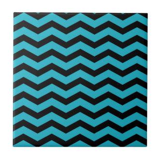Faux Teal Dark Blue Black Foil Chevron Zig Zag Small Square Tile