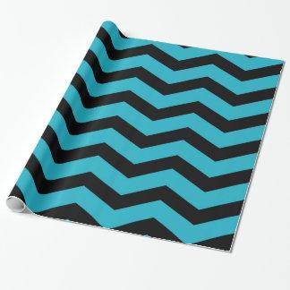 Faux Teal Dark Blue Black Foil Chevron Zig Zag Wrapping Paper