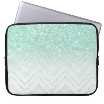 Faux teal glitter ombre modern chevron pattern computer sleeve