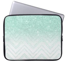 Faux teal glitter ombre modern chevron pattern computer sleeve