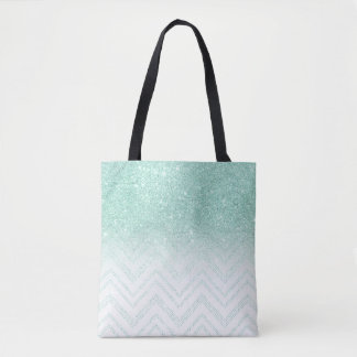 Faux teal glitter ombre modern chevron pattern tote bag