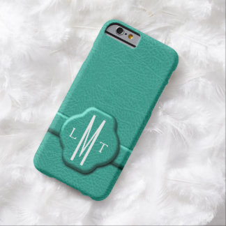 Faux Teal Leather 3 Letter Monogram iPhone 6 Case