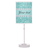 Faux Teal Sequins and Diamonds Desk Lamp