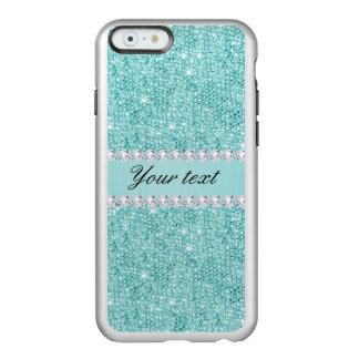 Faux Teal Sequins and Diamonds Incipio Feather® Shine iPhone 6 Case