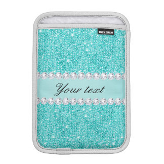 Faux Teal Sequins and Diamonds iPad Mini Sleeve