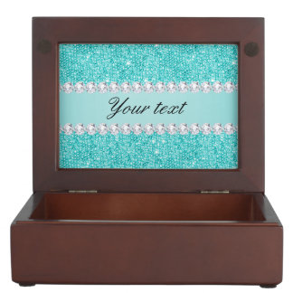 Faux Teal Sequins and Diamonds Keepsake Box
