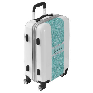 Faux Teal Sequins and Diamonds Luggage